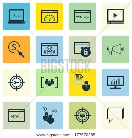 Set Of 16 SEO Icons. Includes Coding, Questionnaire, Conference And Other Symbols. Beautiful Design Elements.