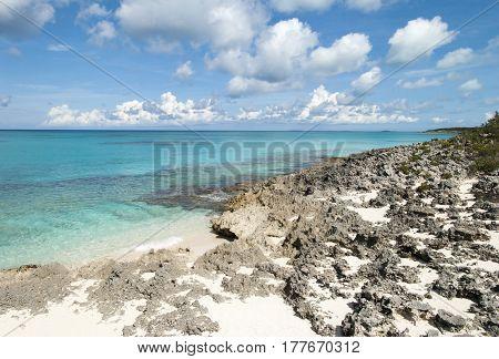 The rocky coastline on uninhabited island Half Moon Cay (Bahamas).