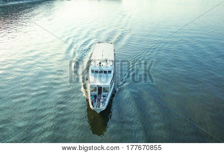 Boat racing through the river