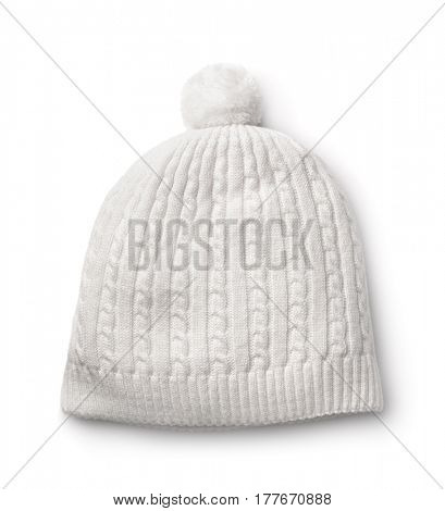 White winter knitted cap isolated on white