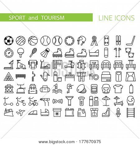 Sport and recreation flat icon set. Collection of symbols of sport, recreation for web design, mobile app. Vector thin line vector icons or logo of tourism, fitness and travel.