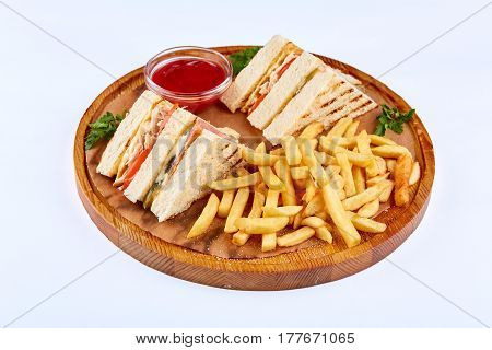 Club Sandwich with Salmon and Vegetables. Food concept