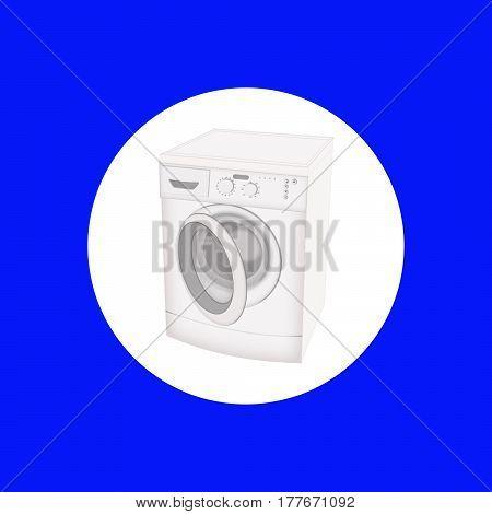 Washing machine isolated flat icon on blue background