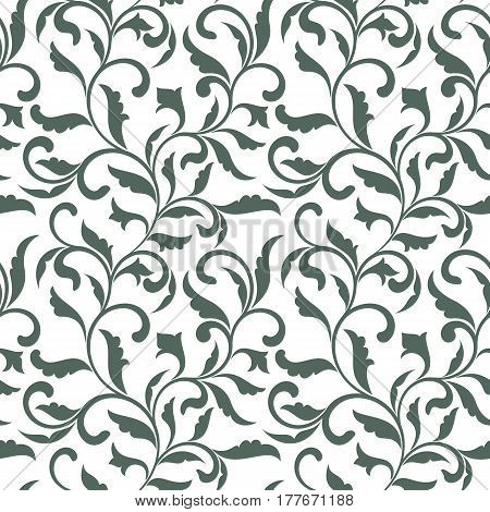 Elegant Seamless Pattern. Tracery Of Swirls And Decorative Leave