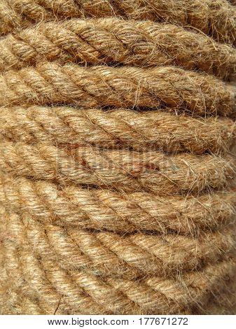 Closeup of the rough coils of a nautical rope