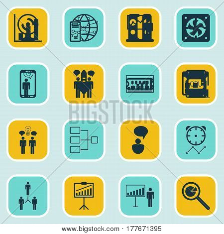 Set Of 16 Executive Icons. Includes Planning, System Structure, Co-Working And Other Symbols. Beautiful Design Elements.