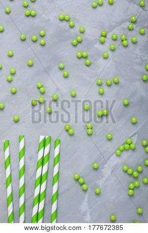 Decorating Sugar Balls And Paper Straws For Cocktails Texture