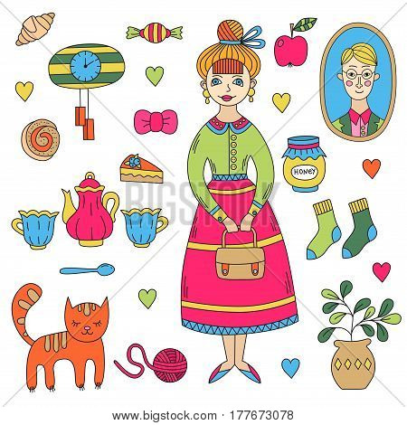 Young woman lady female with her stuff cat flower pot portrait clock and other objects doodle vector set