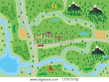Suburban map with houses with car, trees, road, river, mountain and camp. Village. Vector illustration in flat style