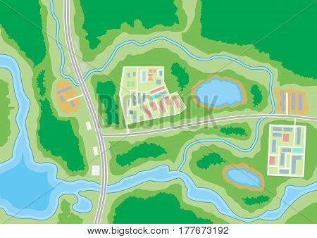 Abstract generic suburban city map with roads, buildings, parks, river, lake. GPS, navigation. Vector illustration in flat design