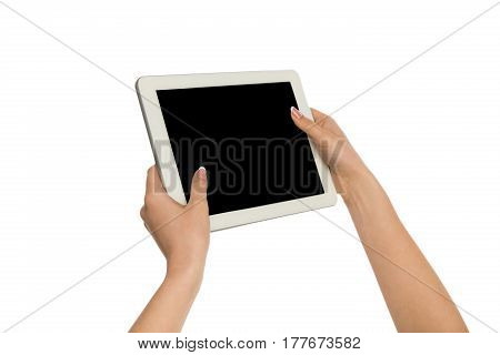 Woman touch digital tablet display, cutout. Girl holding digital tablet and pointing with index finger on blank screen, white isolated background, copy space