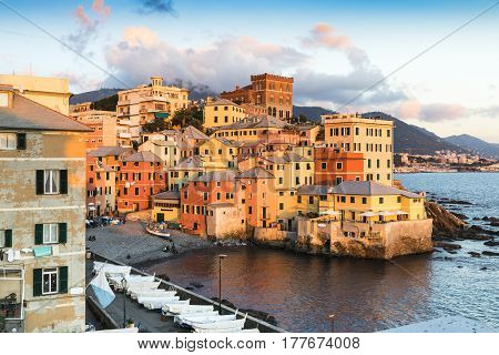 Genova Bocadasse Marina Italy in summer at sunset