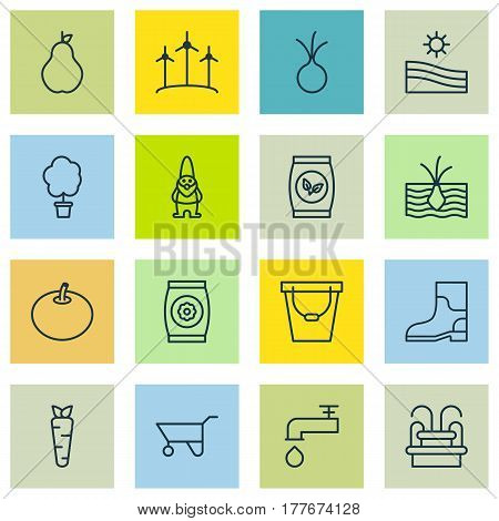Set Of 16 Gardening Icons. Includes Rubber Boot, Growing Plant, Wood Pot And Other Symbols. Beautiful Design Elements.