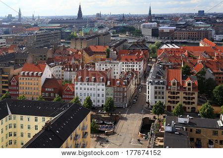 COPENHAGEN, DENMARK - JUNE 29, 2016: It is an aerial view of city from belfry of the Church of the Savior.