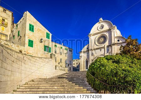 Scenic colorful view at cathedral in summer travel destination in Croatia, Sibenik town.