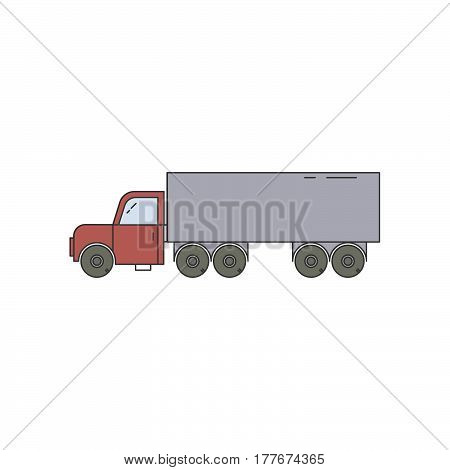 Vector trailer line icon isolated on a white background. Wood transportation equipment. Flat line.