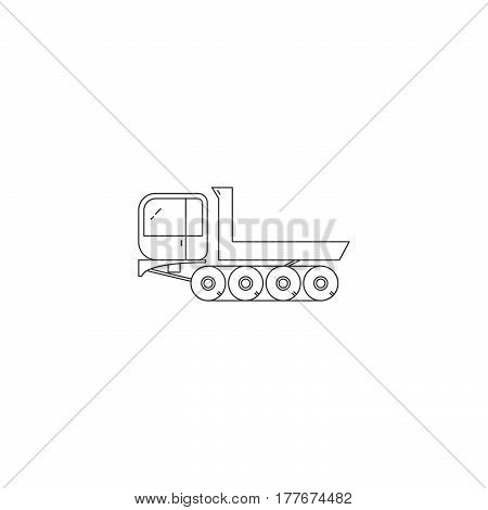 Vector dumper truck line icon isolated on a white background. Wood transportation.