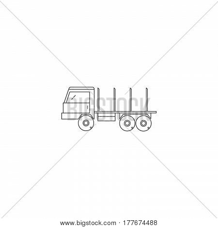 Wood transport line icon. Wood transportation vector truck.