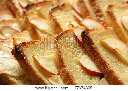 Tasty bread pudding with apple, closeup