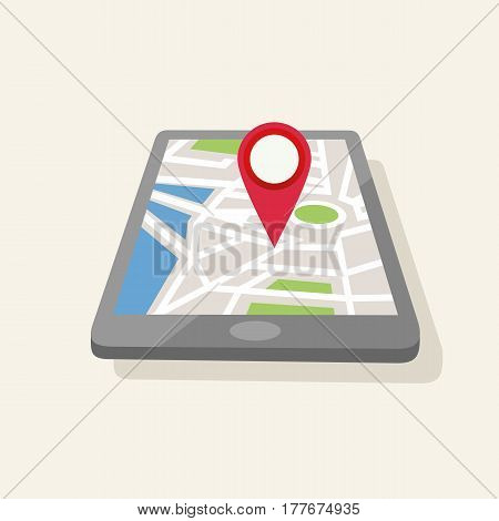 Geolocation map-pin set red map-pin in tablet