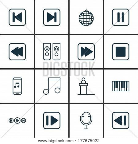 Set Of 16 Audio Icons. Includes Skip Song, Rewind Back, Stop Button And Other Symbols. Beautiful Design Elements.