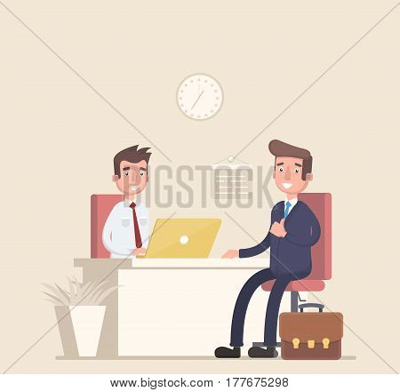 Businessman and consultant sitting at a table, working together, interviews, negotiations, meetings. Vector illustration in a flat style.