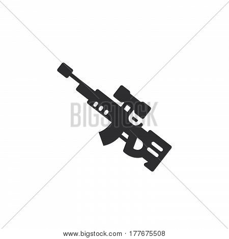 Sniper rifle icon vector filled flat sign solid pictogram isolated on white. Symbol logo illustration