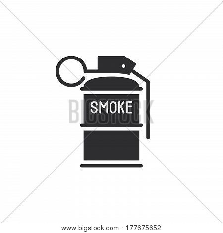 Smoke grenade icon vector filled flat sign solid pictogram isolated on white. Symbol logo illustration