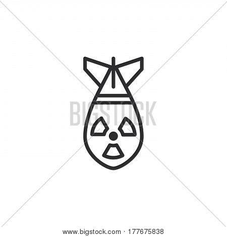 Nuclear bomb line icon outline vector sign linear pictogram isolated on white. Symbol logo illustration