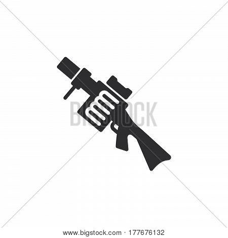 Grenade launcher icon vector filled flat sign solid pictogram isolated on white. Symbol logo illustration