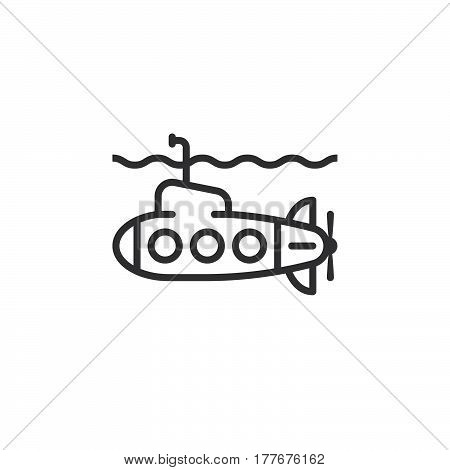 Submarine line icon outline vector sign linear pictogram isolated on white. Symbol logo illustration