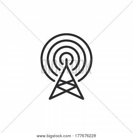 Radar antenna line icon outline vector sign linear pictogram isolated on white. Symbol logo illustration