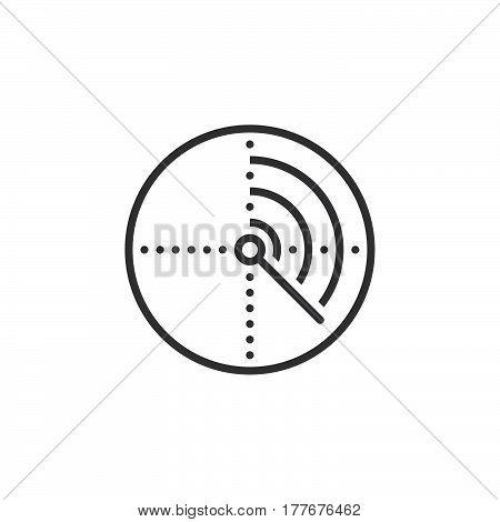 Radar line icon outline vector sign linear pictogram isolated on white. Symbol logo illustration