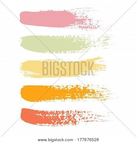 Vector set of grunge brush strokes. Set of colorful brush strokes. Rainbow vector brush strokes collectionSet of color paint ink brush strokes brushes lines. Design elements boxes