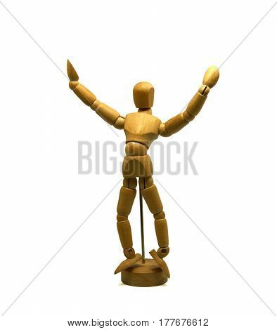 dancing wooden mannequin, puppet, isolated on white background
