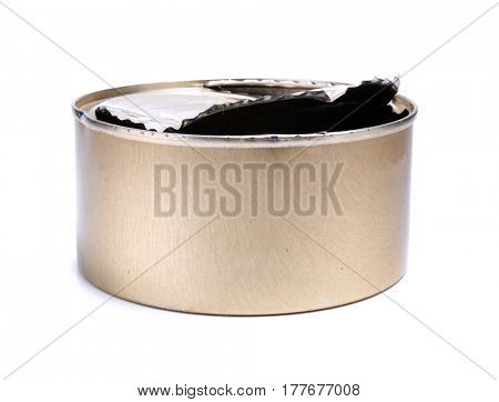 Metal can on a white background