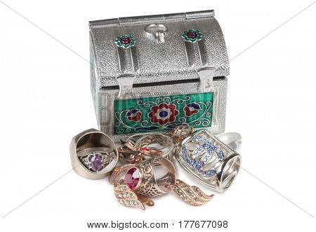 Jewelry made and metal box on a white background