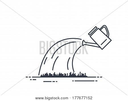 Watering can line illustration. Grass or lawn water. Thin line style. Black and white.