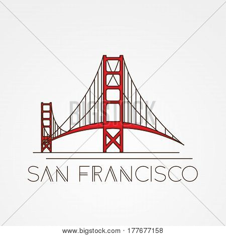 Golden Gate bridge - The symbol of US, San Francisco. Modern linear style. One line concept.