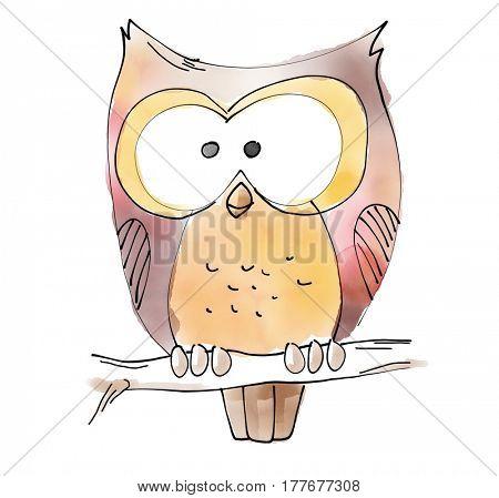 Owl Watecolor Animal illustration set