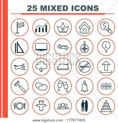 Set Of 25 Universal Editable Icons. Can Be Used For Web, Mobile And App Design. Includes Elements Such As Champagne Glasses, Cutlery, Pin And More.