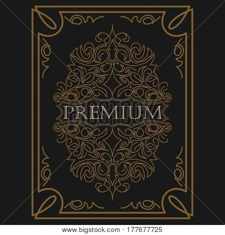 Antique label, vintage frame design, luxury ornament floral design logo, decorative template, heraldic, business, decorative ornament fashion sign. vector illustration.