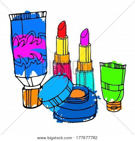 vector, fashion, female, makeup, design, glamour, brush, care, skin, beautiful