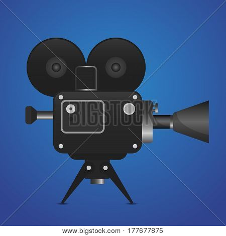 Retro movie projector vector detailed illustration Analog device cinema motion picture film projector.