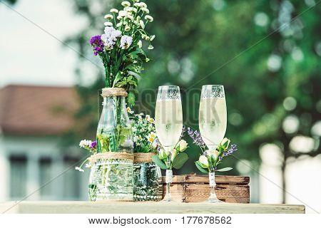Beautiful Vintage Wedding Ceremony Outdoors. Summertime.