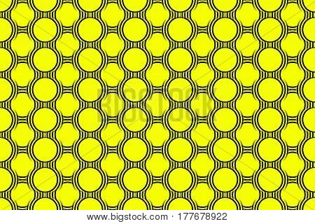 Illustration of several black and yellow concentric circles