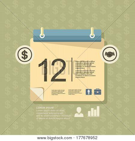 Illustration Business Calendar, Elements, Flat Design