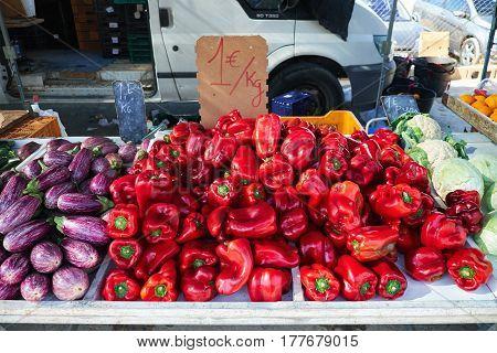 Eggplant, red peppers, cabbage on Sunday market in Spain, Mercadillo de Campo de Guardamar