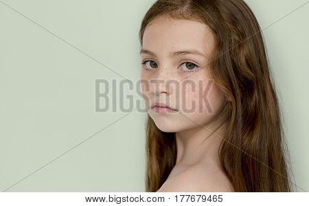 Caucasian Young Girl Focused Studio