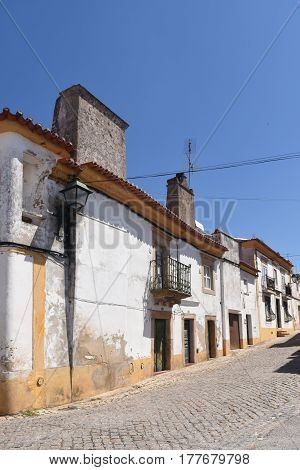Street And Houses, Alter Do Chao, Beiras Region, Portugal,
